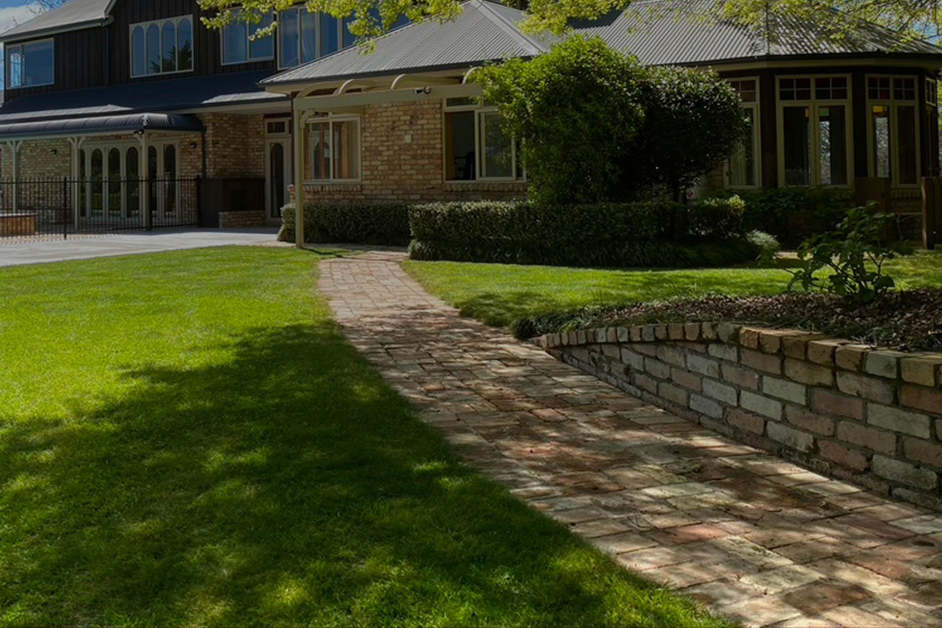 brick paving and wall